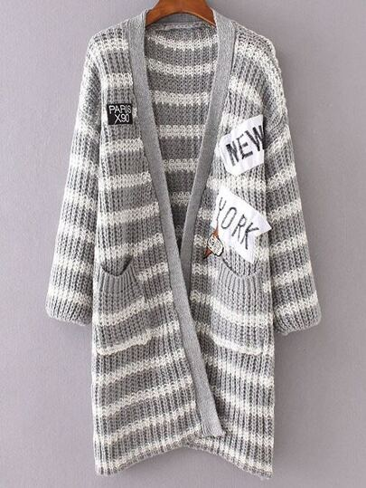 Grey Striped Embroidered Patch Pocket Long Sweater Coat