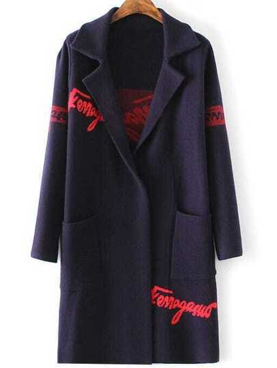 Navy Letter Print Shawl Collar Pocket Long Sweater Coat