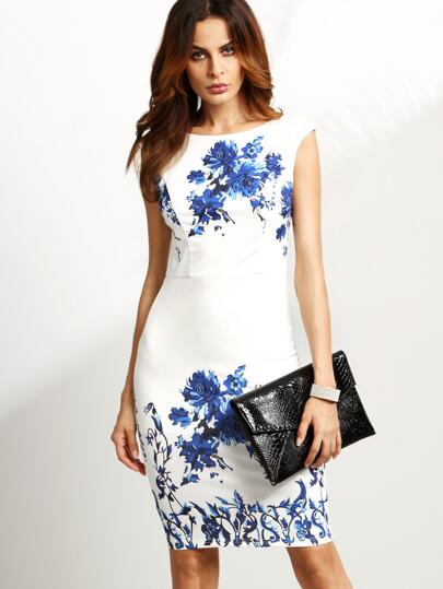 White Flower Print V Back Sheath Dress