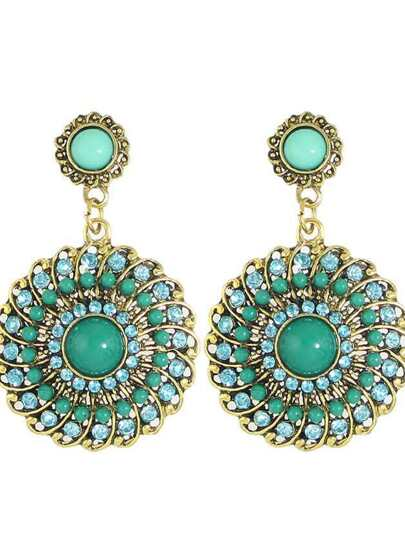Green Boho Style Rhinestone Big Round Flower Drop Earrings