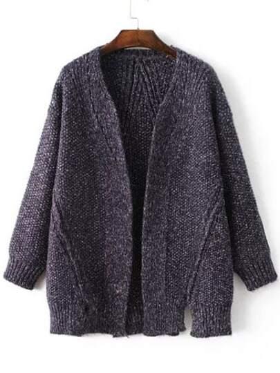 Blue Collarless Ribbed Trim Slit Sweater Coat