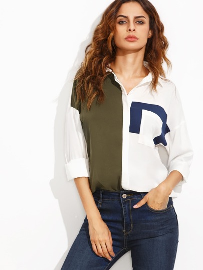 Contrast Dropped Shoulder Curved Hem Blouse