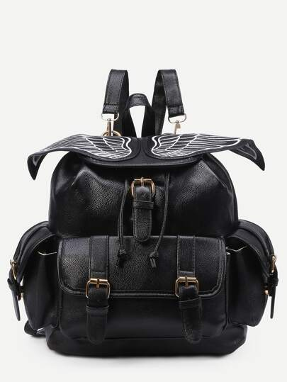 Black Wing Embroidered Buckle Flap Backpack