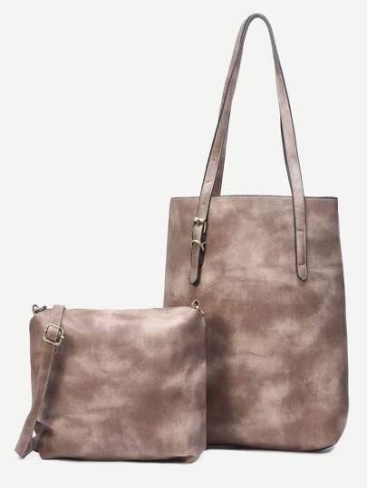 Grey Shopper Bag With Crossbody Bag