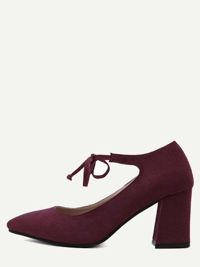 Burgundy Faux Suede Mary Jane Lace Up Shoes