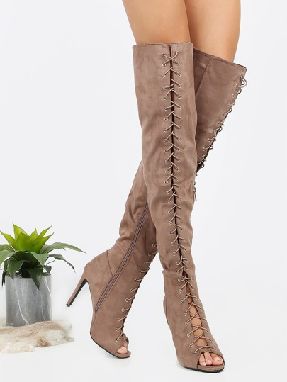 Lace Up Thigh High Stiletto Boots TAUPE