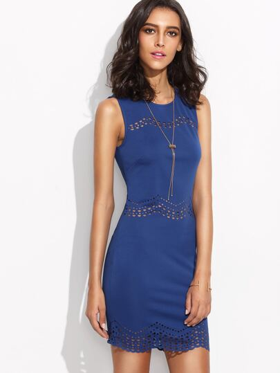 Blue Laser Cut Scallop Hem Sheath Dress