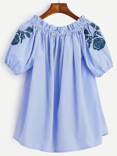 Blue Stripe Lantern Sleeve Floral Embroidered Blouse