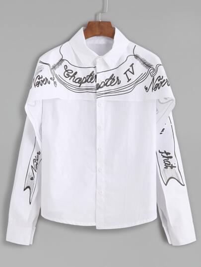 White Slogan Print Layered Blouse