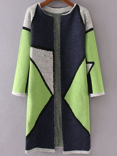 Green Color Block Collarless Long Cardigan