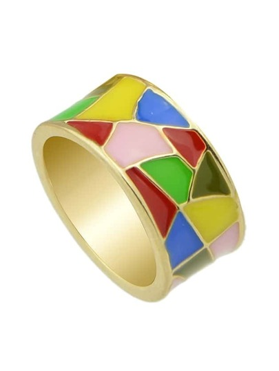 Yellow Geometric Pattern Round Finger Ring