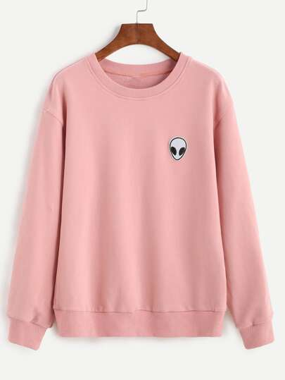 Sweatshirt Drop Schulter mit Alien Patch - rosa