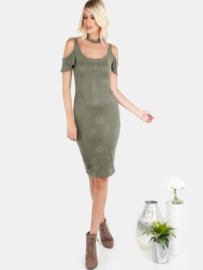 Suede Cold Shoulder Midi Dress OLIVE