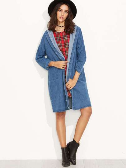 Blue Drop Shoulder Hooded Denim Long Coat
