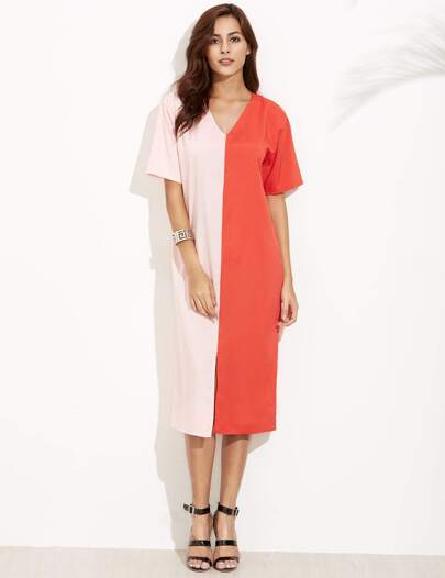 Contrast Deep V Neck Split Tunic Dress