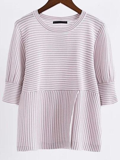 Pink Striped Round Neck Split Front Knitwear