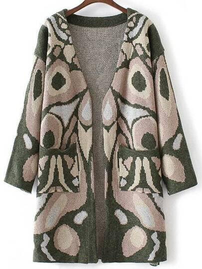 Green Abstract Pattern Collarless Drop Shoulder Long Cardigan