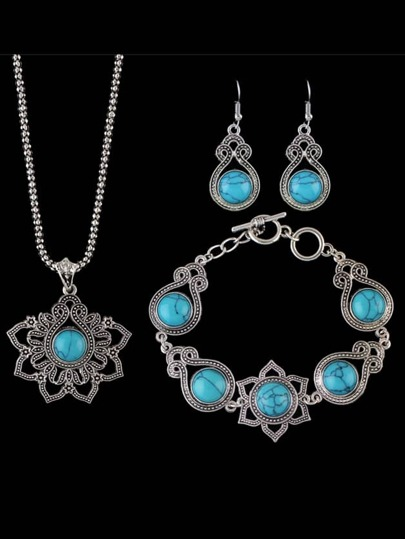 Blue Indian Design Imitation Turquoise Necklace Bracelet Earrings Set