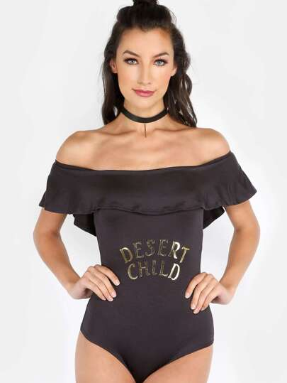 Open Shoulder Desert Child Bodysuit BLACK