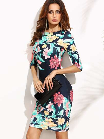 Calico Print Elbow Sleeve Bodycon Dress