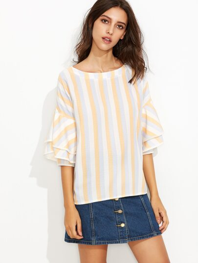 Multicolor Vertical Striped Tiered Bell Sleeve Top