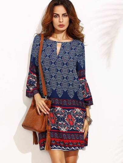 Tribal Print V Cut Out Tunic Dress