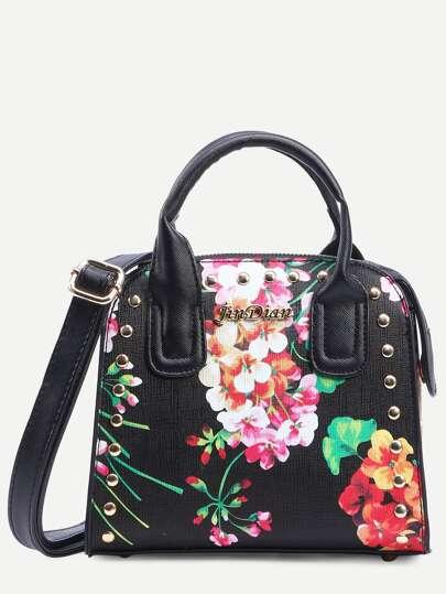 Black Flower Print Studded Structured Satchel Bag