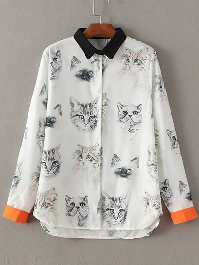 White Contrast Trim Cat Print Blouse