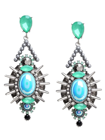 Green Rhinestone Rivet Drop Earrings