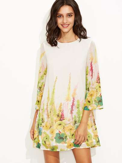 White Flower Print Bell Sleeve Tent Dress