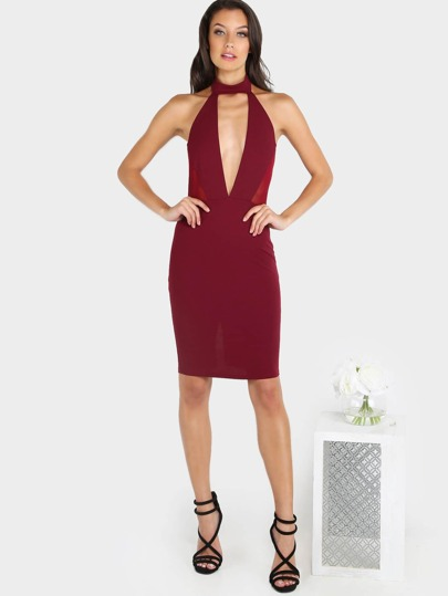 Choker Neck Halter Bodycon Midi Dress WINE
