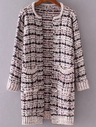 Plaid Open Front Marled Knit Pocket Sweater Coat