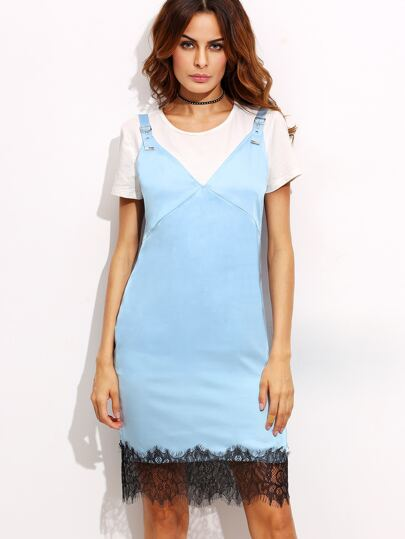 Blue V Neck Backless Lace Hem Sheath Dress