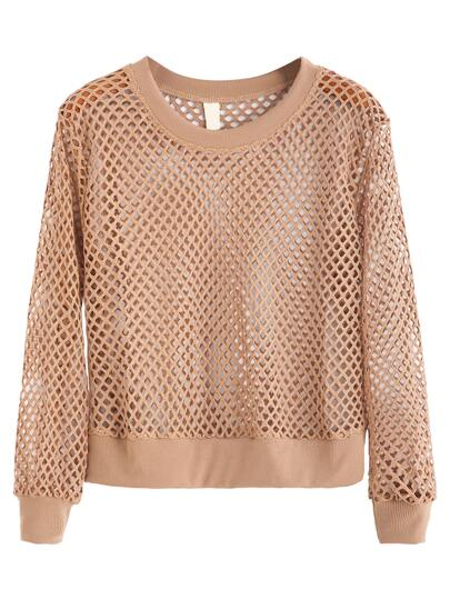 Khaki Lattice Casual Sweatshirt