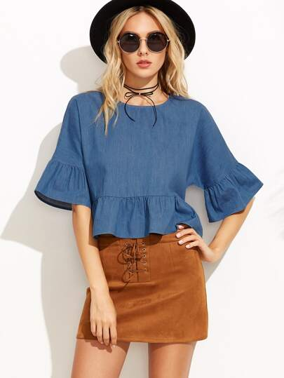 Trumpet Sleeve Chambray Peplum Top