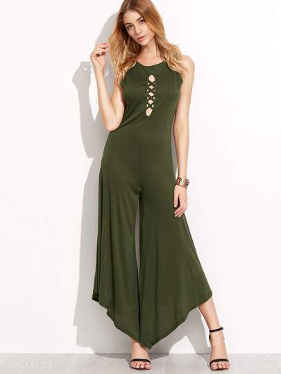 Army Green Lattice Open Back Asymmetric Jumpsuit