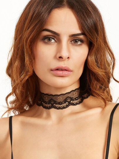 Black Scalloped Floral Lace Choker Necklace