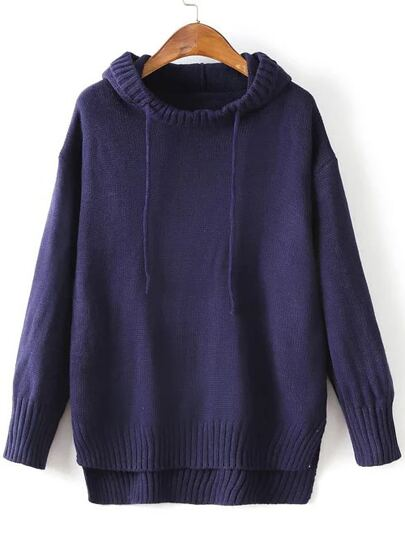Navy Ribbed Trim Drawstring Hooded Dip Hem Sweater