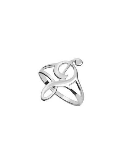 Silver Hollow Music Note Ring