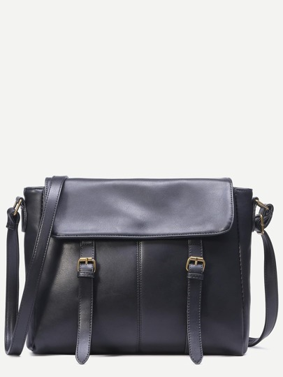 Black Dual Buckle Flap Satchel Bag