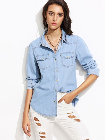 Blue Lapel Pockets Denim Shirt