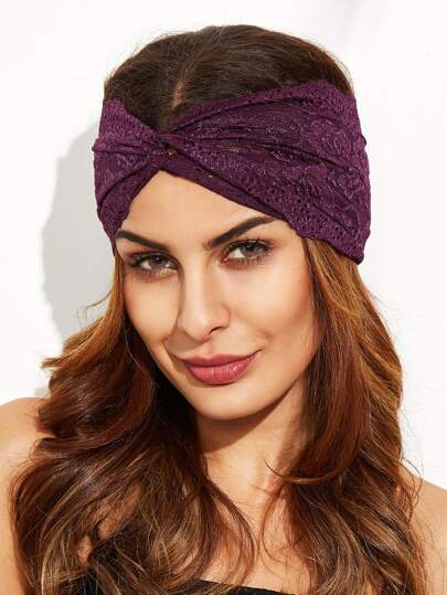 Dark Purple Twist Lace Headband