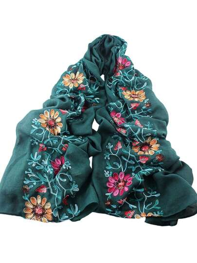 Green Flower Printed Boho Style Wide Cotton Scarf For Ladies