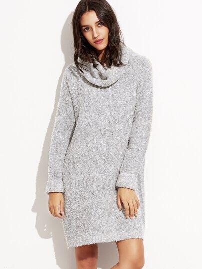 Grey High Neck Long Sweater
