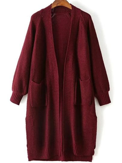 Burgundy Raglan Sleeve Side Slit Long Cardigan With Pockets
