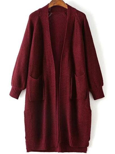 Burgundy Raglan Sleeve Side Slit Long Cardigan With Pockets