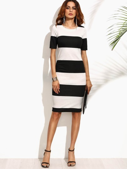 Contrast Wide Stripe Pencil Dress