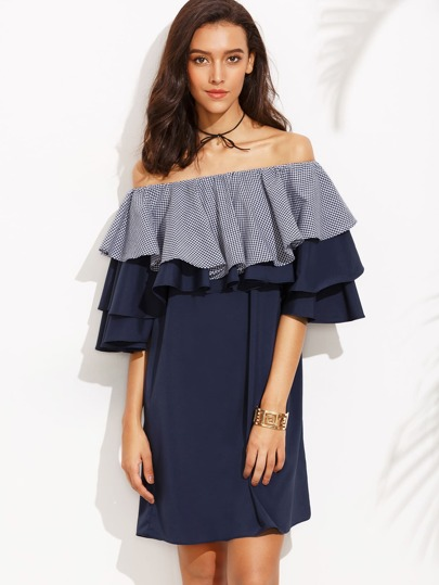 Color Block Off The Shoulder Ruffle Shift Dress