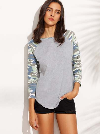 Heather Grey Camo Raglan Sleeve T-shirt