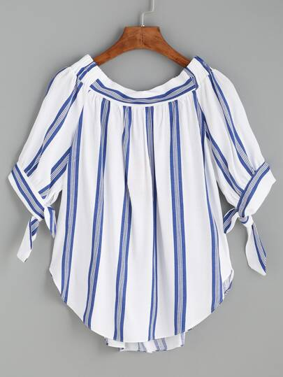 Vertical Striped Tie Sleeve Curved Hem Blouse
